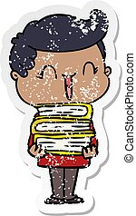 distressed sticker of a cartoon laughing boy carrying books