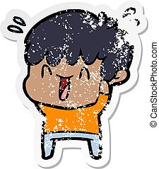 distressed sticker of a cartoon laughing boy