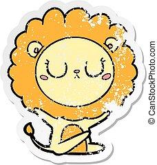 distressed sticker of a cartoon lion