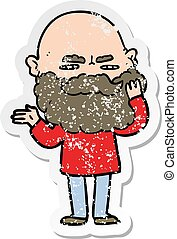 distressed sticker of a cartoon man with beard frowning