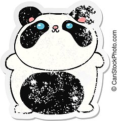 distressed sticker of a cartoon panda