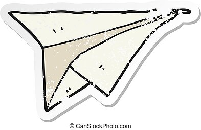 distressed sticker of a cartoon paper airplane