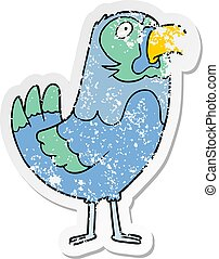 distressed sticker of a cartoon parrot