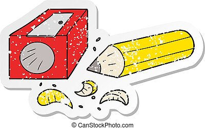 distressed sticker of a cartoon pencil and sharpener