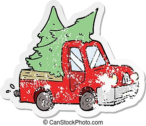 distressed sticker of a cartoon pickup truck carrying trees