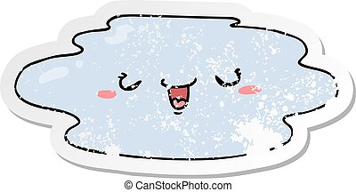 distressed sticker of a cartoon puddle with face