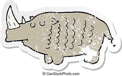 distressed sticker of a cartoon rhinoceros
