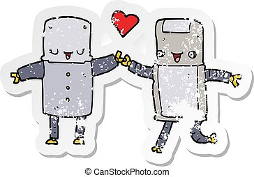 distressed sticker of a cartoon robots in love
