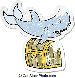 distressed sticker of a cartoon shark swimming over treasure chest