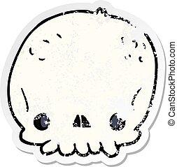 distressed sticker of a cartoon skull