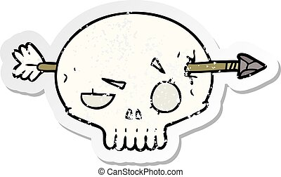 distressed sticker of a cartoon skull with arrow