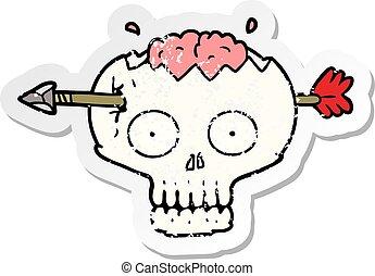distressed sticker of a cartoon skull with arrow through brain