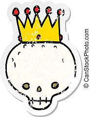 distressed sticker of a cartoon skull with crown