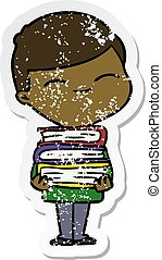 distressed sticker of a cartoon smiling boy with stack of books