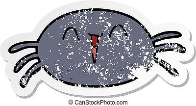 distressed sticker of a cartoon spider