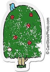 distressed sticker of a cartoon tall tree