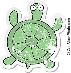 distressed sticker of a cartoon turtle