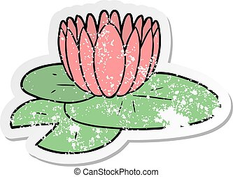distressed sticker of a cartoon water lily