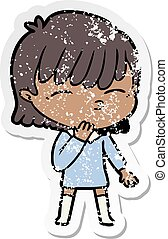 distressed sticker of a cartoon woman