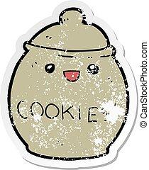 distressed sticker of a cute cartoon cookie jar