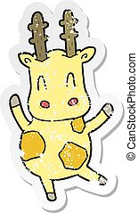 distressed sticker of a cute cartoon giraffe