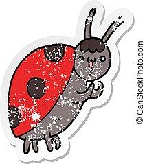 distressed sticker of a cute cartoon ladybug