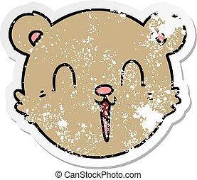 distressed sticker of a cute cartoon teddy bear face