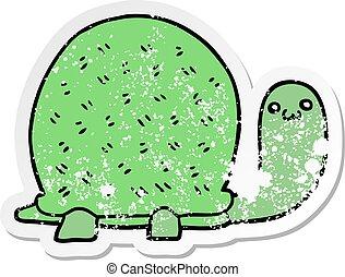 distressed sticker of a cute cartoon turtle