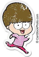 distressed sticker of a happy cartoon boy running
