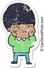 distressed sticker of a happy cartoon boy