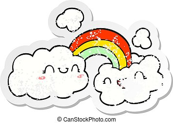 distressed sticker of a happy cartoon clouds and rainbow