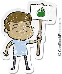 distressed sticker of a happy cartoon man with apple placard