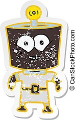 distressed sticker of a happy energized cartoon robot