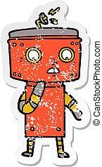 distressed sticker of a uncertain cartoon robot