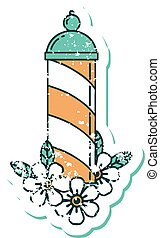 distressed sticker tattoo style icon of a barbers pole