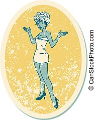 distressed sticker tattoo style icon of a pinup girl in ...