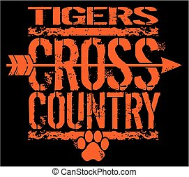 distressed tigers cross country team design with paw print for school, college or league