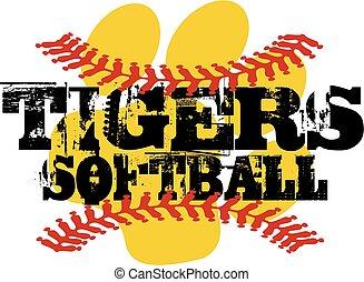 tigers softball - distressed tigers softball team design...