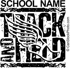 distressed track and field team design with winged foot for school, college or league