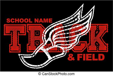 distressed track & field team design with winged foot for school, college or league