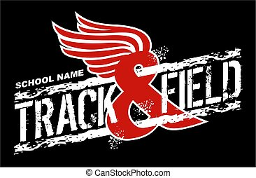distressed track & field team design with wings for school, college or league