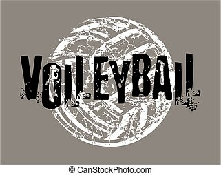 distressed volleyball design with ball