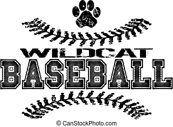 distressed wildcat baseball design with stitches