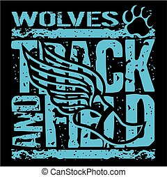 wolves track and field - distressed wolves track and field...
