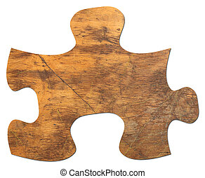 Distressed Wooden Puzzle Piece