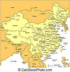 distretti, amministrativo, porcellana, circondare, paesi