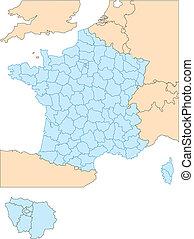 distretti, circondare, francia, amministrativo, paesi