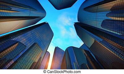 distretto affari, con, grattacieli