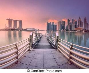 distretto centro, e, marina, baia, in, singapore