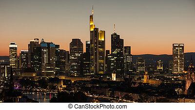 distretto finanziario, orizzonte, principale, notte, germania, francoforte